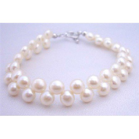 TB655  Double Row Freshwater Pearls Bracelet Toggle Clasp High Quality Potato Shaped Pearls Bracelet