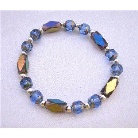 TB611  Glass Bead Rainbow Beads w/ Sparkling Geometrical Beads Bracelet Bicone Shaped Beads