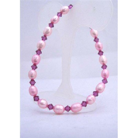 TB626  Pink Fuschia Freshwater Pearls Rice Shaped w/ Genuine Swarovski Fuschia Crystals Bracelet