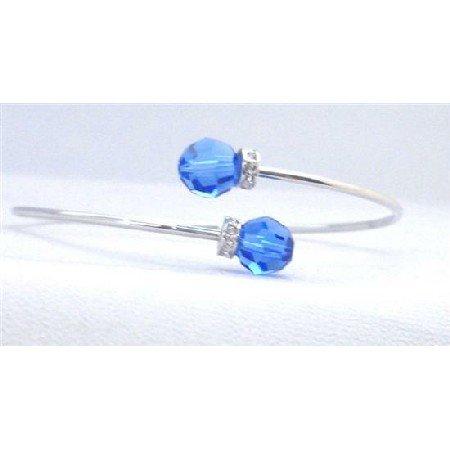 TB303  Sapphire Swarovski Crystals Wire Bracelet w/ Rondells
