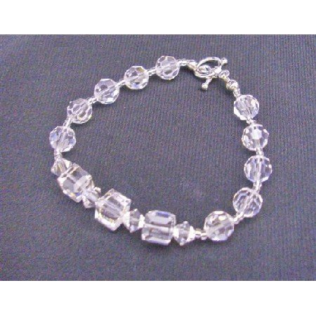 TB591  Round Clear Crystals Beads Cube Clear Crystals Bracelet 8mm Cube Round w/ Bicone 4mm