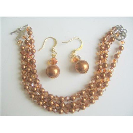 TB565  Copper Pearls & Copper Swarovski Crystals Three Stranded Bracelet w/ Earrings