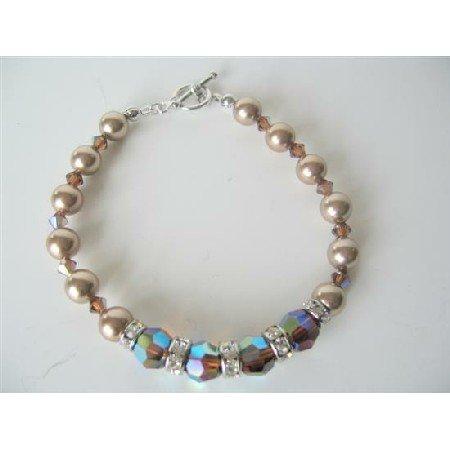 TB528  Bronze Pearls AB 2X Smoked Topaz Swarovski Pearls & Crystals Bracelet Bridal FlowerGirl