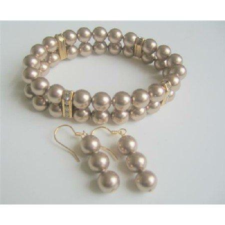 TB560  Bracelet Earrings Jewelry Set Double Strands Swarovski Bronze Pearls Stretchable Bracelet