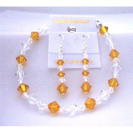 TB407  Wedding Jewelry Bracelet & Earrings Set w/ Genuine Swarovski Topaz & Clear Crystals