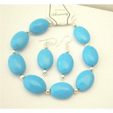 TB520  Turquoise Oval Beads Bracelet Earrings Set w/ Silver Beads Spacer Bracelet