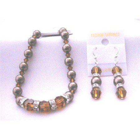 TB403  Chocolate Pearls Bracelet Earrings Genuine Swarovski Smoked Topaz Crystals & Brown Pearls