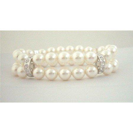 TB581  Double Stranded Swarovski White Pearls w/ Silver Rondells Genuine Swarovski Pearls Bracelets