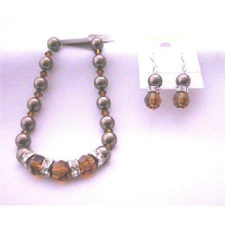 TB401  Swarovski Chocolate Brown Pearls Bracelet Earrings Genuine Swarovski Smoked Topaz