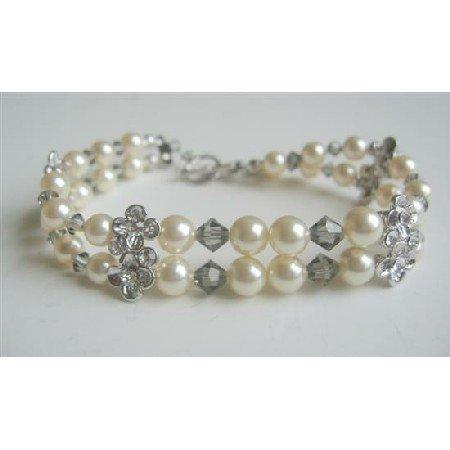 TB559  Black Diamond Swarovski Crystals w/ Swarovski Cream Pearls Double Stranded Bracelet