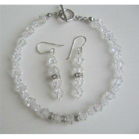 TB416  Clear Swarovski Irridscent Crystals Bridal Bracelet & Earrings Set w/ Genuine Swarovski