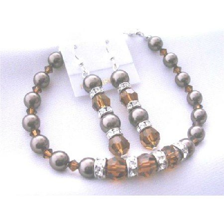 TB404  Chocolate Pearls Bracelet Earrings Genuine Swarovski Smoked Topaz Crystals & Brown Pearls