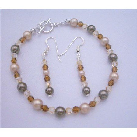 TB388  Bridal Bridemaides Bracelet Earrings Alll Genuine Swarovski Pearls Crystals Handcrafted