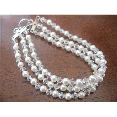 TB371  Three Stranded White Pearls & Genuine Swarovski Moonlite Crystals Bracelet