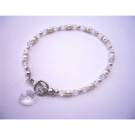 TB521  Heart Charm Swarovski Clear Irridscent Crystals w/ White Pearls And Bali Silver Bridal