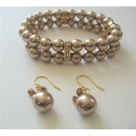 TB529  Double Strands Swarovski Bronze Pearls Stretchable Bracelet And Earrings w/ Gold Rondells