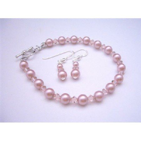 TB350  Rose Pink Pearls & Pink Crystals Bridemaides Bracelet & Earrings Genuine Swarovski Pearls