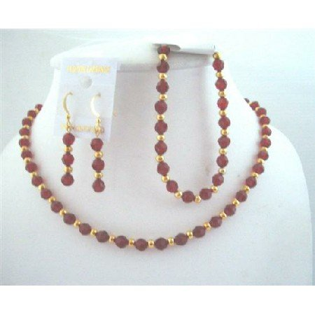 BRD562  Round Swarovski Siam Red Crystals Bridemaides Bride Jewelry w/ Necklace Earrings & Bracelet
