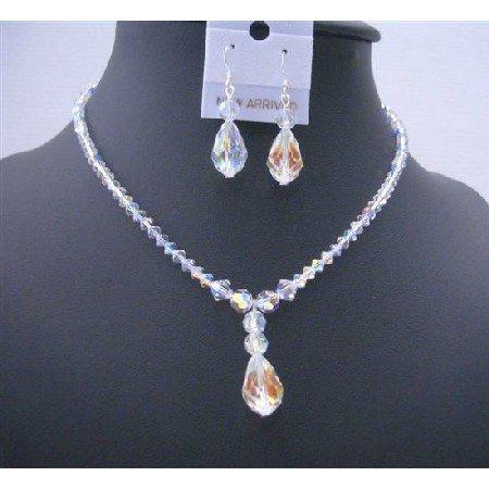 BRD493  AB Crystals Teardrop Irridescent Crystals Jewelry Set Swarovski AB Crystals Necklace