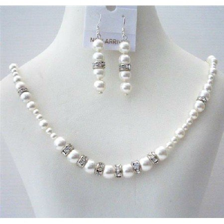 BRD487  White Pearls Handcrafted Custom Bridal Jewelry Set Genuine Swarovski White Pearls Necklace