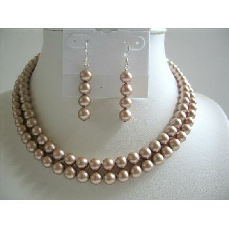 BRD589  Champagne Pearls Double Stranded Necklace Set Genuins Swarovski Champagne