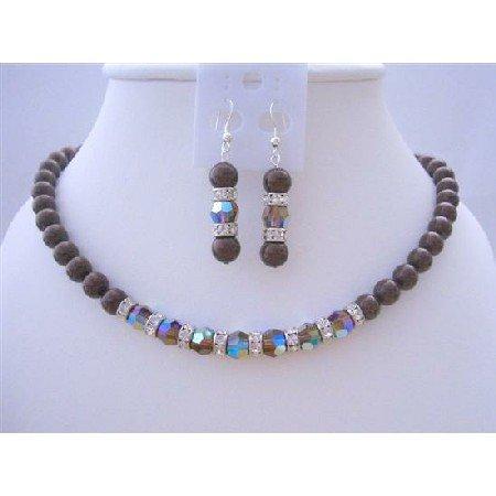 BRD423  Meroon Pearls Jewelry Set w/ Genuine Swarovski Smoked Topaz 2X Crystals Necklace
