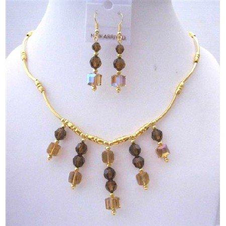 BRD453  Gold Necklace 22k Gold Plated Necklace w/ Genuine Sparkling Swarovski Smoked Topaz