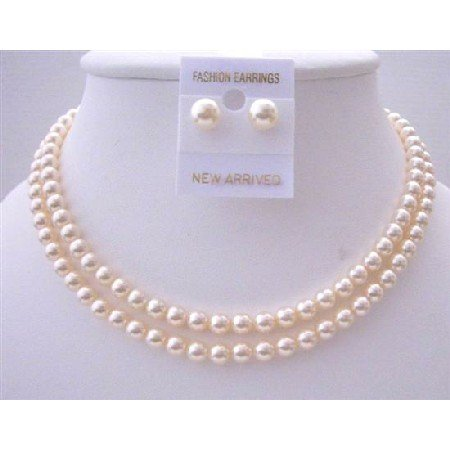 BRD452  Bridal Jewelry Ivory Pearls Double Stranded Necklace Set w/ Stud Pearls 6mm