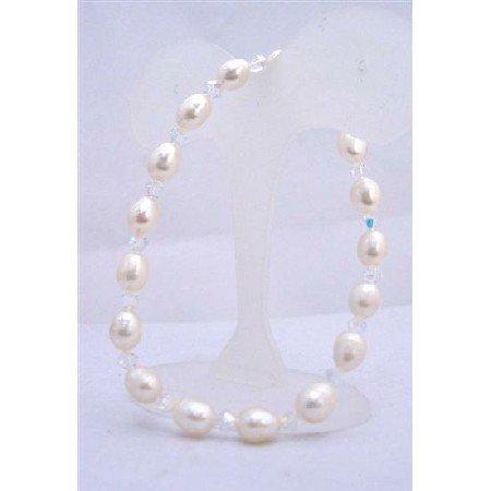 TB623  Freshwater Pearls Stretchable Bracelet w/ Swarovski AB Crystals Cream Freshwater Pearls