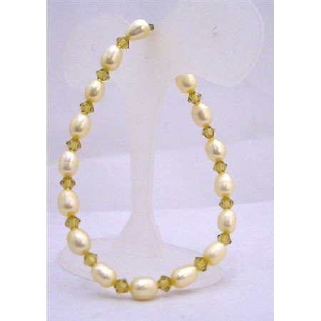 TB624  Yellow Lime Freshwater Rice Shaped Pearls w/ Swarovski Olivine Crystals Stretchable Bracelet
