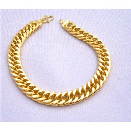TB228  Thick Gold Woven Bracelet Good Quality Women Bracelet 7 1/2 inches Long Bracelet