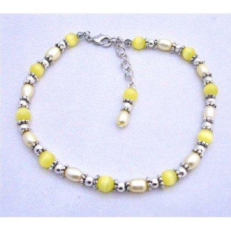 TB633  Yellow Cat Eye Beads Bali Silver Freshwater Pearls Bracelet