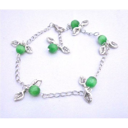 TB635  Charm Leave Bracelet Faceted Green Cat Eye Beads Silver Plated Chain Bracelet