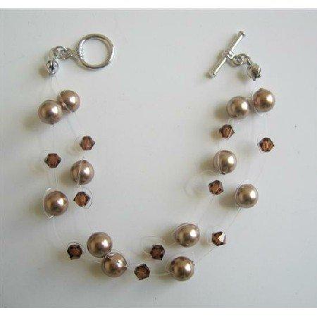 TB599  Double Stranded Bronze Pearls Bracelet Swarovski Crystals & Pearls Bracelet