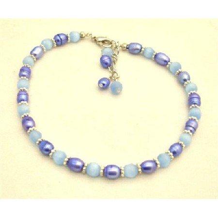 TB643  Tanzanite Dyed Rice Pearls Bracelet w/ Lavender Faceted Cat Eye & Bali Silver Bracelet