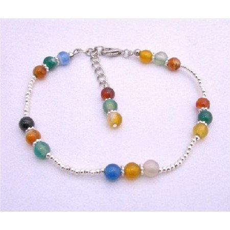 TB637  Multi Colored Glass Beads Bracelet