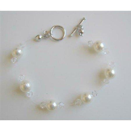TB597  Clear Crystals & White Pearls Wire Bracelet w/ Toggle Clasp Genuine Swarovski Pearls