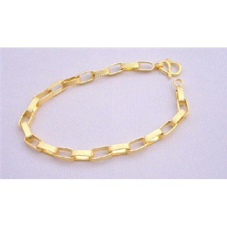 TB213  Gold Chained Bracelet Good Quality Gold Plated Bracelet 7 1/2 inches Long Bracelet