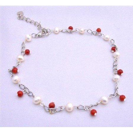 TB634  Red Beads & Freshwater Pearls Bracelet Red & white Bracelet