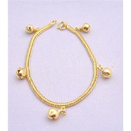 TB217  Gold Plated Bracelet w/ Balls Dangling Thick Designed Gold Plated Bracelet