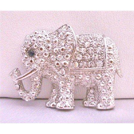 B197  Elephant Brooch Elephant Fully Embedded w/ Cubic Zircon Brooch