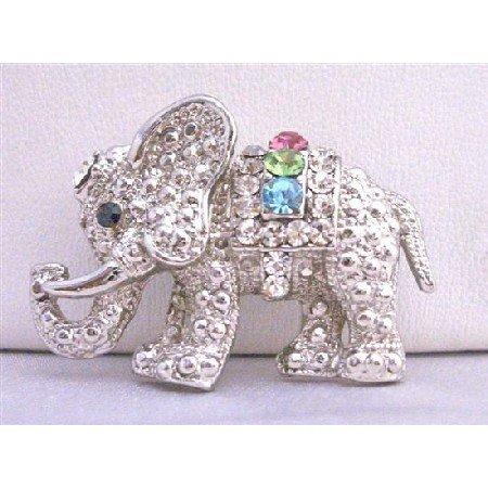 B198  Cute Cubic Zircon Elephant Brooch w/ Multi Colored Cubic Zircon Brooch