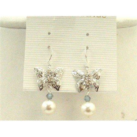 ERC435  Silver Butterfly Earrings w/ White Swarovski Pearls Black Diamond Crystals Earrings