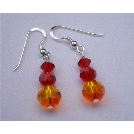 ERC268  Fire Opal Crystals & Siam Red Swarovski Crystals Sterling Silver Earrings
