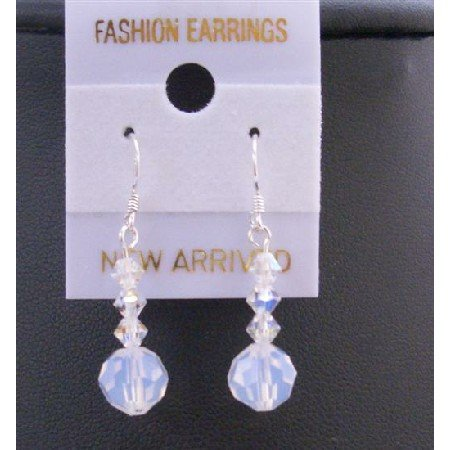 ERC417  Swarovski AB & White Opal Round Crystals Sterling Silver 92.5 Earrings
