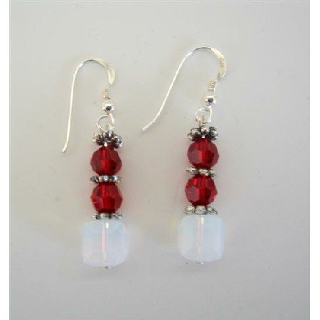 ERC256  White Opal Crystals And Siam Red Swarovski Crystals Sterling Silver 92.5 Chandelier Earrings