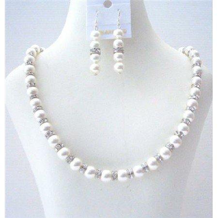 BRD472  Birdal White Pearls Jewelry Swarovski White Pearls Necklace Earrings w/ Diamond Sparkling