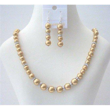 BRD496  Golden Pearls Bridal Bridemaides Swarovski Pearls Handcrafted Jewelry Set