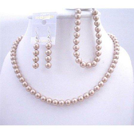BRD570  Bridal Bridemaids Handcrafted Swarovski Champagne Pearls Necklace Earrings Bracelet