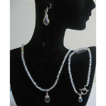 BRD566  Swarovski AB Crystals Wedding Jewelry w/ Teardrop Bridal Bridemaids Genuine Swarovski